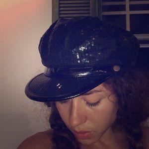 Sequin newsboy cap